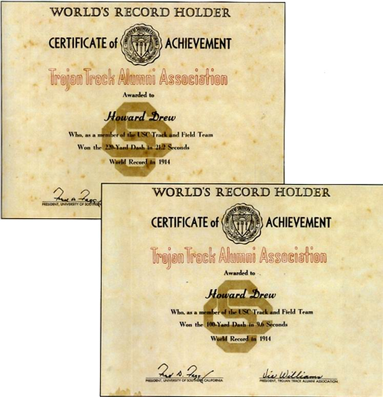 Certificates of Howard Drew's World Records